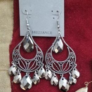 Silver Faceted Chandelier Earrings